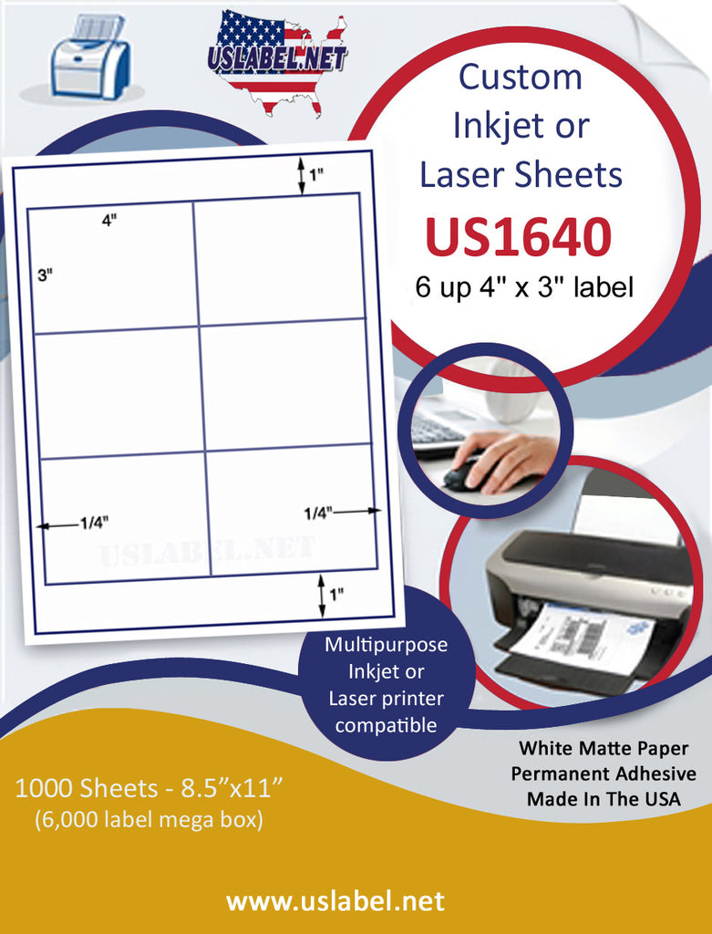 "US1640 - 4'' x 3'' - 6 up label on a 8 1/2"" x 11"" inkjet or laser sheet. - uslabel.net - The Label Resource Center"