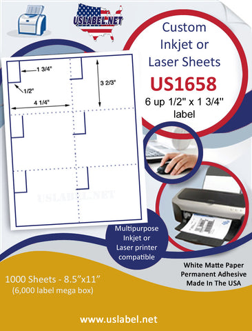 "US1658 - 1/2'' x 1 3/4'' - 6 up label with perfs on a 8 1/2"" x 11"" inkjet or laser sheet."