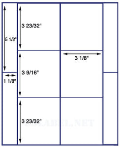 "US1659-3 1/8'' x varies-6 up on a 8 1/2"" x 11"" label sheet."