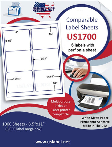 "US1700 - 4'' x 3 1/3'' - 6 up Comparable # 5164  label on a 8 1/2"" x 11"" label sheet."