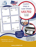"US1702-4''x31/3''-6 up w/ gutters on 8 1/2""x11""label sheet."