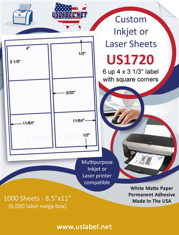 "US1720 - 4'' x 3 1/3'' - 6 up label with square corners label on a 8 1/2"" x 11"" inkjet or laser sheet."
