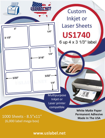 "US1740 - 4'' x 3 1/3'' - 6 up label with gutters on a 8 1/2"" x 11"" inkjet or laser sheet."