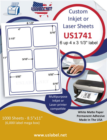 "US1741 - 4'' x 3 1/3'' - 6 up label with gutters and perfs on a 8 1/2"" x 11"" inkjet or laser sheet."