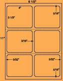 "US1741-4''x31/3''-6 up w/gutters on8 1/2""x11""label sheet."