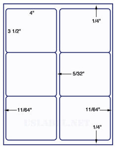 "US1761-4'' x 3 1/2''-6 up on a 8 1/2"" x 11"" label sheet."