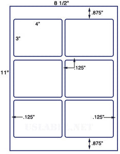 "US1765-4'' x 3''-6 up on a 8 1/2"" x 11"" label sheet."