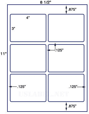 "US1765- 4'' x 3'' - 6 up label on a 8 1/2"" x 11"" inkjet or laser sheet."