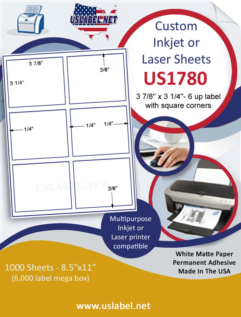 "US1780 - 3 7/8'' x 3 1/4''- 6 up label with square corners on a 8 1/2"" x 11"" inkjet or laser sheet."