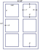 "US1802 - 3.25'' x 3'' - 6 up label on a 8 1/2"" x 11"" label sheet."