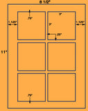 "US1804- 3'' Square-6 up label on a 8 1/2""x11"" label sheet."