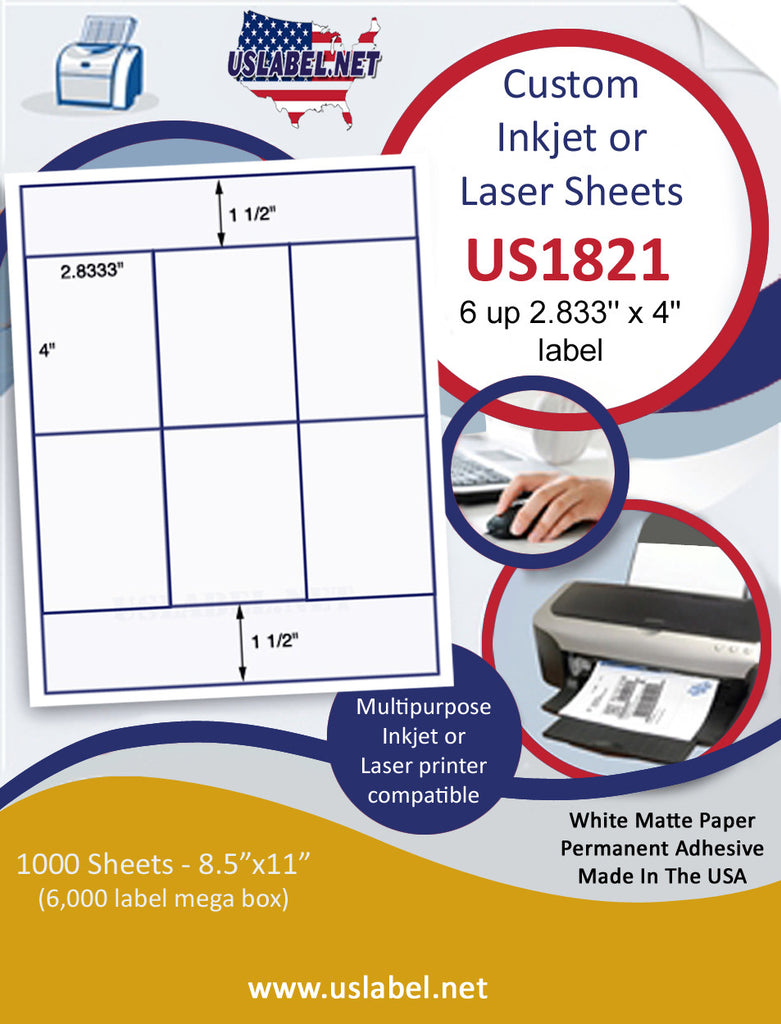 "US1821 - 2.833'' x 4'' - 6 up label on a 8 1/2"" x 11"" inkjet or laser sheet. - uslabel.net - The Label Resource Center"