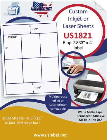 "US1821 - 2.833'' x 4'' - 6 up label on a 8 1/2"" x 11"" inkjet or laser sheet."