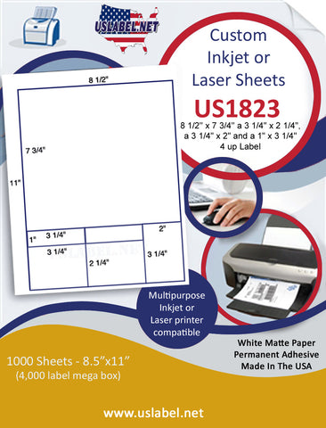 "US1823 - 8 1/2'' x 7 3/4'', 3 1/4'' x 2 1/4'' labels on a 8 1/2"" x 11"" inkjet or laser sheet."