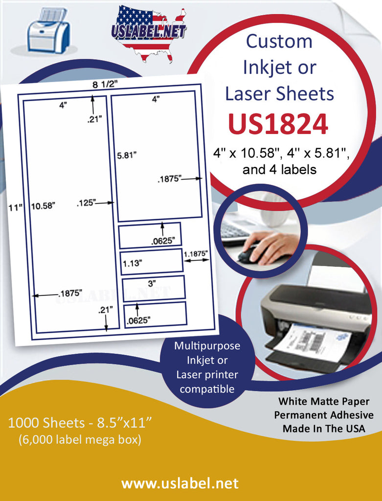 "US1824 - 4"" x 10.58"", 4'' x 5.81''labels on a 8 1/2"" x 11"" inkjet or laser sheet. - uslabel.net - The Label Resource Center"