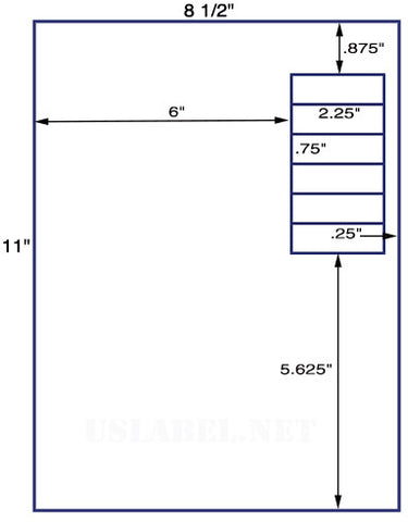 "US1829 - 2.25"" x .75'' - 6 up label on a 8 1/2"" x 11"" inkjet or laser sheet."