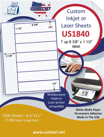 "US1840 - 6 3/8'' x 1 1/2'' - 7 up label on a 8 1/2"" x 11"" inkjet or laser sheet."