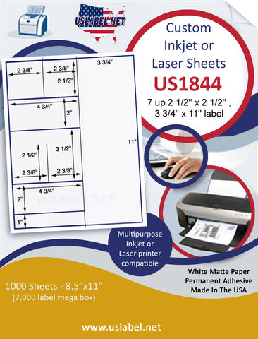 "US1844 - 2 1/2'' x 2 1/2'', 3 3/4"" x 11""  - 7 up label on a 8 1/2"" x 11"" inkjet or laser sheet."