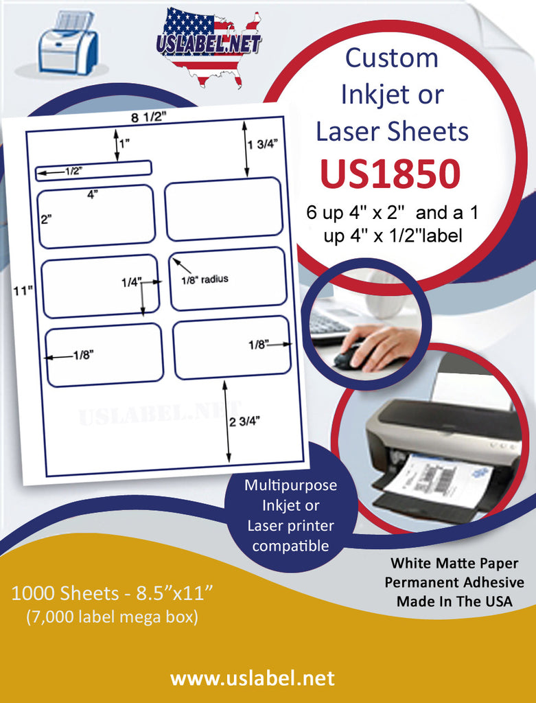 "US1850-6 up - 4'' x 2'' & 4"" x 1/2"" label on a 8 1/2"" x 11"" inkjet or laser sheet."
