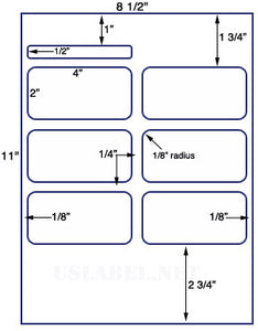 "US1850-4''x2''&4""x1/2"" label on a 8.5""x11"" label sheet."