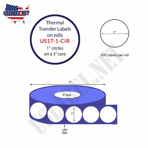 "1"" Circle Thermal Transfer Labels on a 3 '' Core 4 ''OD - uslabel.net  America's label store."