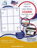 "US2000 - 2 3/4'' x  3 1/2'' - 9 up label on a 8 1/2"" x 11"" inkjet or laser sheet. - uslabel.net - The Label Resource Center"