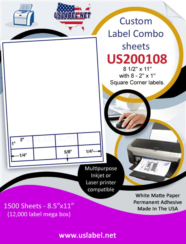 US200108 - 8 1/2'' x 11'' with 8 - 2'' x 1'' Square Corner labels. - uslabel.net - The Label Resource Center