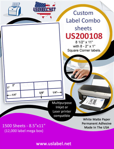 US200108 - 8 1/2'' x 11'' with 8 - 2'' x 1'' Square Corner labels.