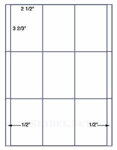 "US2001-2 1/2''x3 2/3''-9 up on a 8 1/2"" x 11"" label sheet."