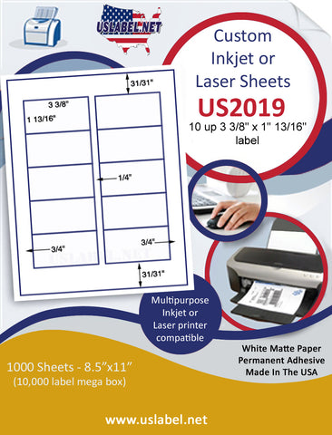 "US2019 - 3 3/8'' x 1 13/16''-10 up label on a 8 1/2"" x 11"" inkjet or laser sheet."