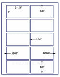 "US2021-3 1/2''x2''-10 up on a 8 1/2""x11"" label sheet."