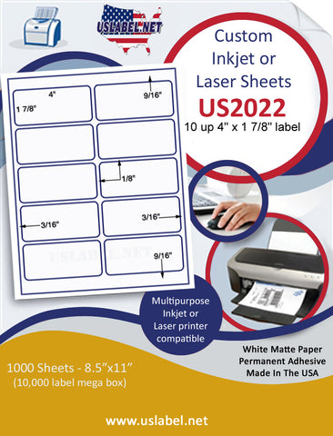 "US2022 - 4'' x 1 7/8'' - 10 up Label on a 8 1/2"" x 11"" inkjet or laser sheet."