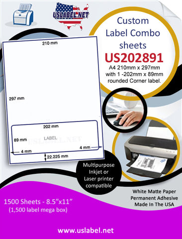 US202891 - A4 210mm x 297mm with 1 -202mm x 89mm rounded Corner label.