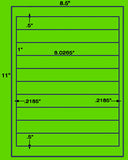 "US2030-1''x8.0265''-10 up on a 8 1/2""x11"" label sheet."
