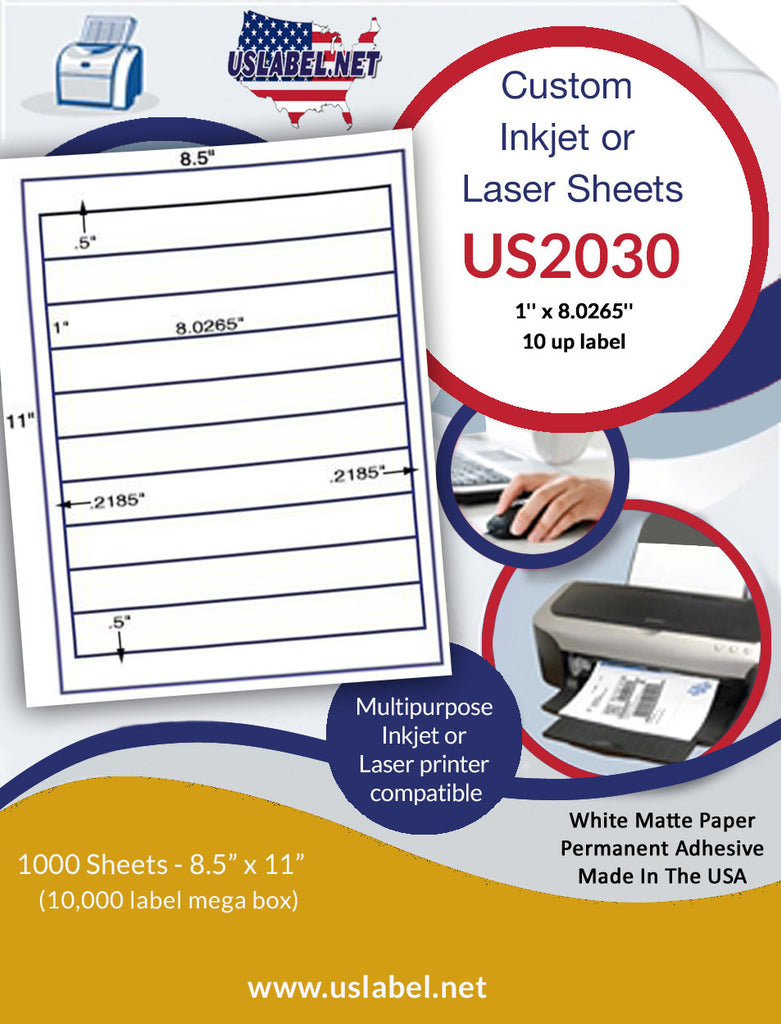 "US2030 - 1'' x 8.0265'' - 10 up Label on a 8 1/2""  x 11"" inkjet or laser sheet."