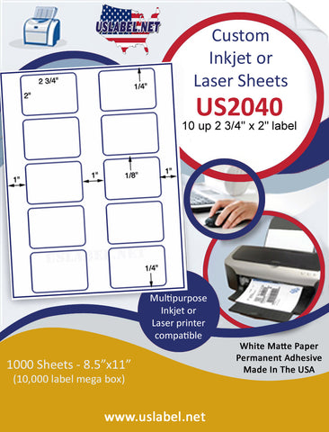 "US2040 - 2 3/4'' x 2'' - 10 up label on a 8 1/2"" x 11"" inkjet or laser sheet."