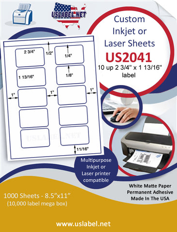 "US2041 - 2 3/4'' x 1 13/16'' - 10 up label on a 8 1/2"" x 11"" inkjet or laser sheet."