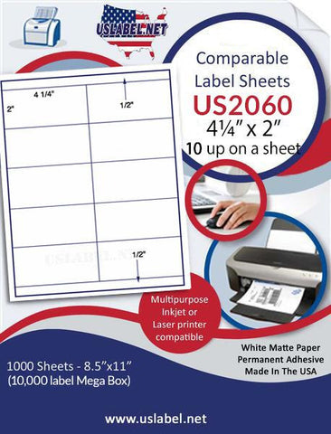 "US2060 - 4 1/4'' x 2'' - Brand Name Comparable 5352  label on a 8 1/2"" x 11"" label sheet."