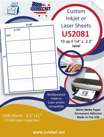 "US2081 - 4 1/4'' x  2.2'' - 10 up label on a 8 1/2"" x 11"" inkjet or laser sheet."