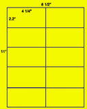 "US2081-4 1/4''x2.2''-10 up on a 8 1/2"" x 11"" label sheet."