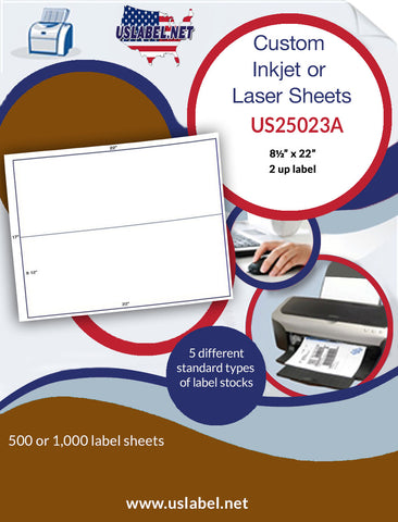 "US25023A - 2 up 8 1/2'' x 22'' on a 17"" x 22"" Label Sheet"