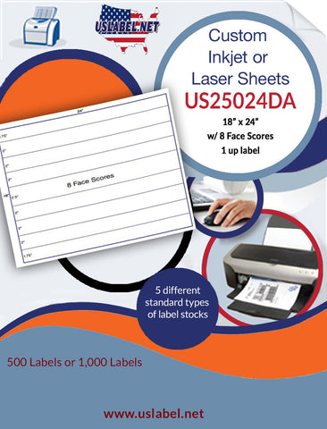 US25024DA - 18'' x 24'' label sheet with 8 Face scores.