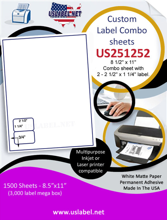 US251252-8.5'' x 11''Combo sheet with 2-2.5''x1.25'' label.