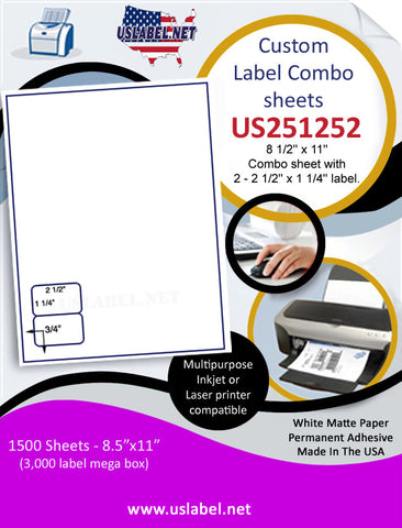US251252 - 8 1/2'' x 11'' Combo sheet with 2 - 2 1/2'' x 1 1/4'' label.