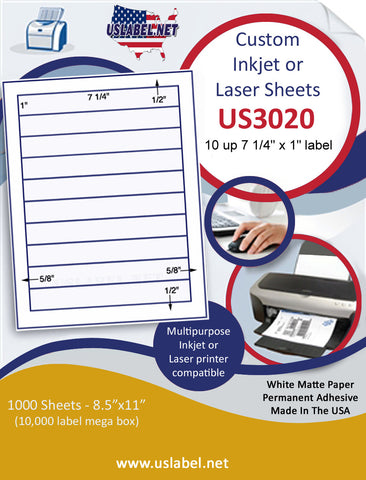 "US3020 - 7 1/4'' x 1'' - 10 up label on a 8 1/2"" x 11"" inkjet or laser sheet."