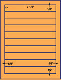 "US3020-7 1/4''x1''-10 up on a 8 1/2"" x 11"" label sheet."