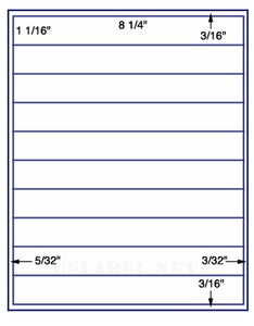 "US3022-8 1/4''x1 1/16''-10 up on a 8 1/2""x11"" label sheet."