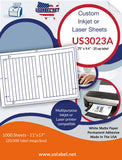 "US3023A - .75"" x 9.4"" - 20 up label on a 11'' x 17'' label sheet."