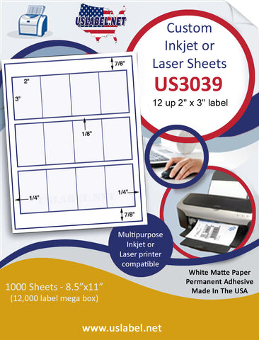"US3039 - 2'' x 3'' - 12 up label on a 8 1/2"" x 11"" inkjet or laser sheet."