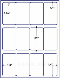 "US3040-2''x3 1/4''-12 up on a 8 1/2"" x 11"" label sheet."